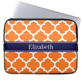 Pumpkin Wht Moroccan #5 Navy Blue Name Monogram Laptop Sleeve