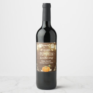 Pumpkin Wine label Pregnancy reveal Fall Rustic