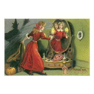 Pumpkin Witch Black Cat Ghost Photo Print