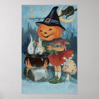 Pumpkin Witch Cross Stitch Poster