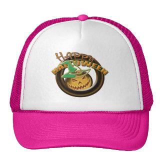 Pumpkin witch halloween pink trucker hat