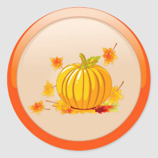 Pumpkin with Autumn Leaves Stickers
