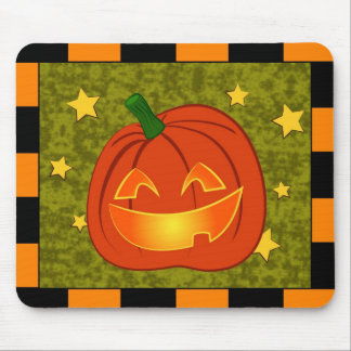 Pumpkin with orange and black border mouse pad