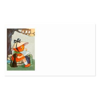Pumpkinhead Black Cat Jack O Lantern Pumpkin Business Card