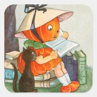 Pumpkinhead Black Cat Jack O Lantern Pumpkin Square Sticker