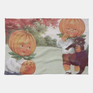 Pumpkinhead Jack O' Lantern Black Cat Kitchen Towel