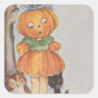 Pumpkinhead Jack O Lantern Black Cat Owl Square Sticker