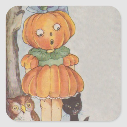 Pumpkinhead Jack O Lantern Black Cat Owl Square Stickers