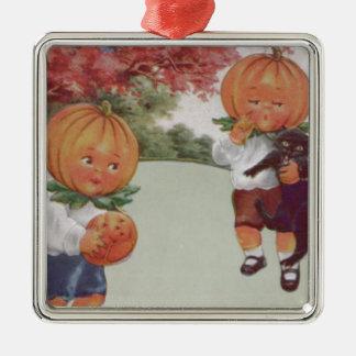 Pumpkinhead Jack O' Lantern Black Cat Silver-Colored Square Ornament