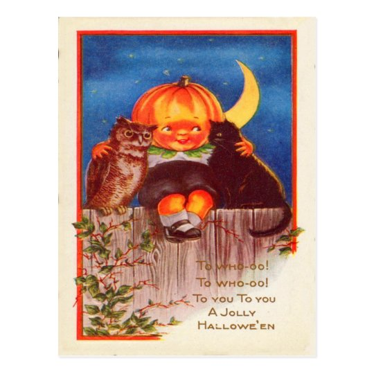 Pumpkinhead Owl Black Cat Crescent Moon Postcard