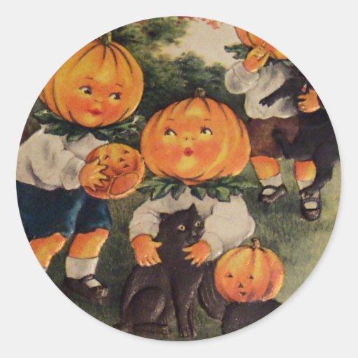 Pumpkinheads (carte vintage de Halloween) Adhésifs Ronds