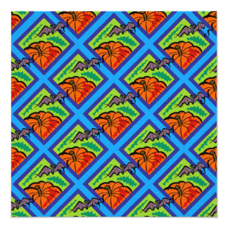 Pumpkins and Bats in Patterns of Green/Blue Card
