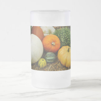 Pumpkins And Gourds Frosted Glass Beer Mug