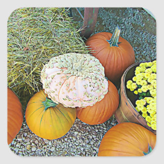 Pumpkins and Hay Bale Halloween Stickers