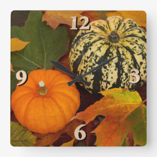 Pumpkins and Leaves Square Wall Clock
