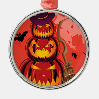 Pumpkins and Red Moon Silver-Colored Round Ornament