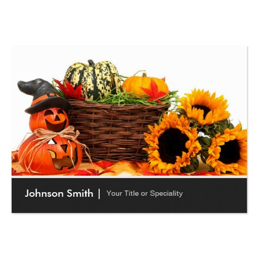 Pumpkins Autumn Flowers - Happy Halloween Business Cards