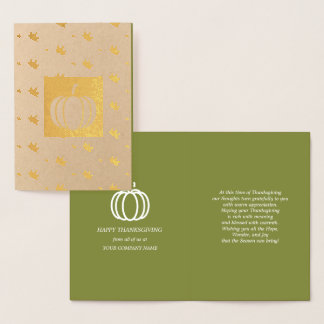 Pumpkins & Falling Leaves Thanksgiving Luxury Card