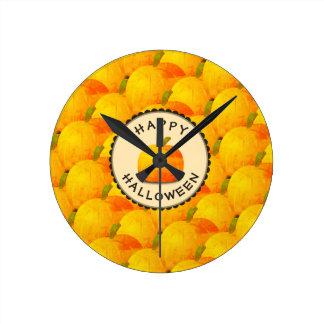 Pumpkins Happy Halloween Round Clock