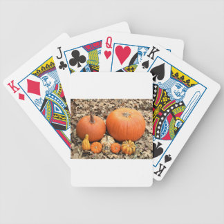 Pumpkins In Leaves Bicycle Playing Cards