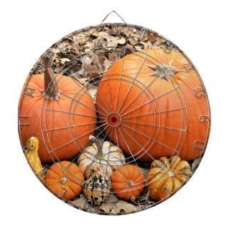 Pumpkins In Leaves Dartboard