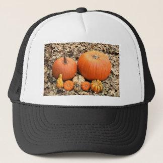 Pumpkins In Leaves Trucker Hat