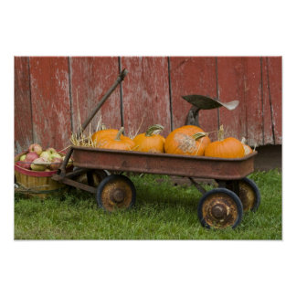 Pumpkins in old wagon poster