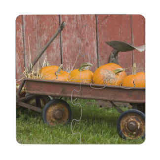 Pumpkins in old wagon puzzle coaster