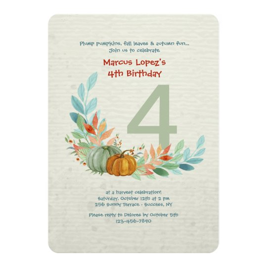 Pumpkins In Watercolor Birthday Invitation