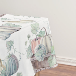 Pumpkins in Wooden Bucket in Soft Watercolors Tablecloth