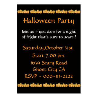 Pumpkins Invitation for Halloween Party Large Business Card
