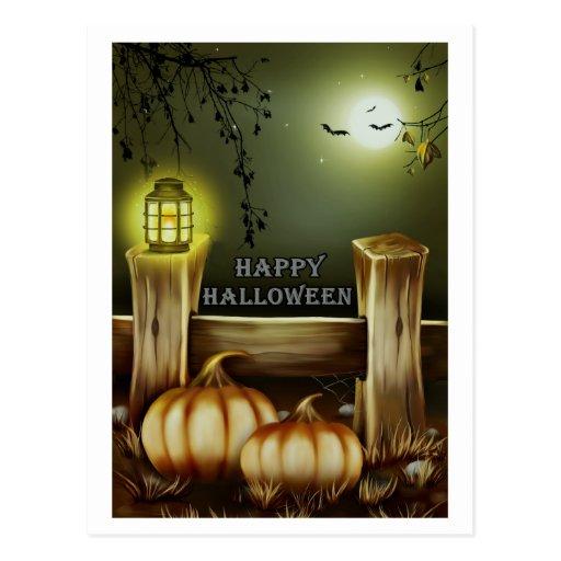 Pumpkins, Lantern, Fence Halloween Card Post Cards