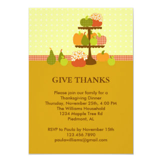 Pumpkins on a Stand Thanksgiving Dinner Invitation