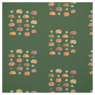 Pumpkins with Leaves Combed Cotton Fabric