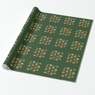 Pumpkins with Leaves Glossy Wrapping Paper 30''x6