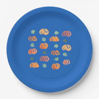 Pumpkins with Leaves Large Paper Plate
