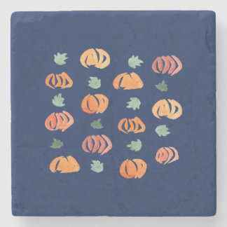 Pumpkins with Leaves Marble Stone Coaster