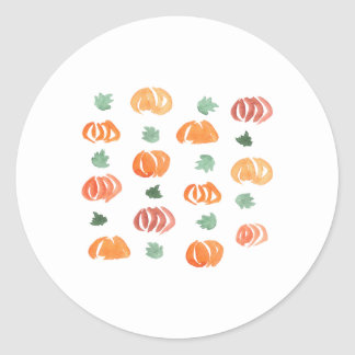 Pumpkins with Leaves Small Glossy Round Sticker
