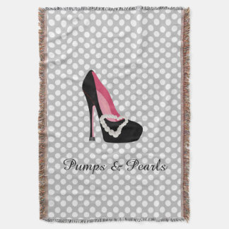 Pumps and Pearls Throw Blanket
