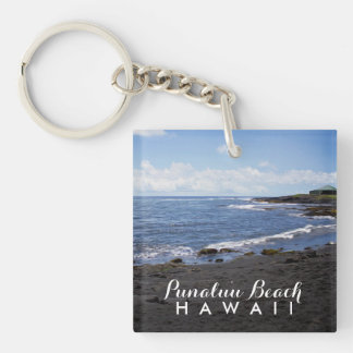 Punalu'u Black Sand Beach Hawaii Double-Sided Square Acrylic Keychain