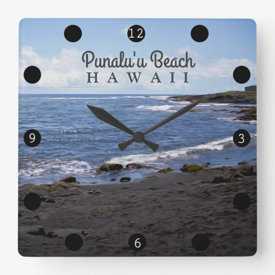 Punalu'u Black Sand Beach Hawaii Wallclock