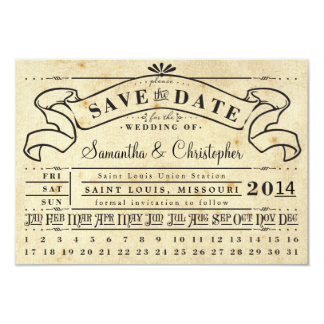 Punch Card Vintage Ticket Banner Save the Date