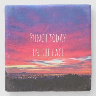 """""""Punch"""" hot pink blue sunrise photo stone coaster"""