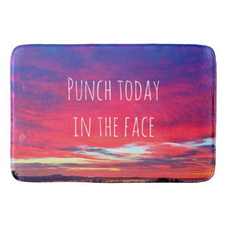 """""""Punch Today"""" Quote Hot Pink & Blue Sunrise Photo Bath Mat"""