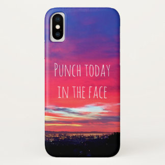 """""""Punch Today"""" Quote Hot Pink & Blue Sunrise Photo iPhone X Case"""