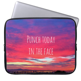 """""""Punch Today"""" Quote Hot Pink & Blue Sunrise Photo Laptop Sleeve"""