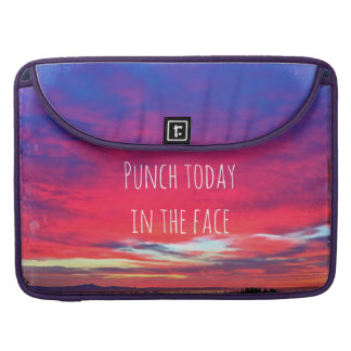 """Punch Today"" Quote Hot Pink & Blue Sunrise Photo Sleeve For MacBook Pro"
