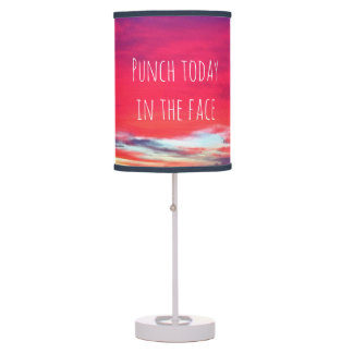 """Punch Today"" Quote Hot Pink & Blue Sunrise Photo Table Lamp"