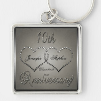 Punched Tin 10 Year Anniversary Keychain