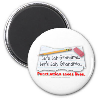 Punctuation Saves Lives 2 Inch Round Magnet